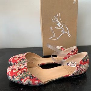 CHRISTIAN LOUBOUTIN RED FLORAL FABRIC FLATS 11.5